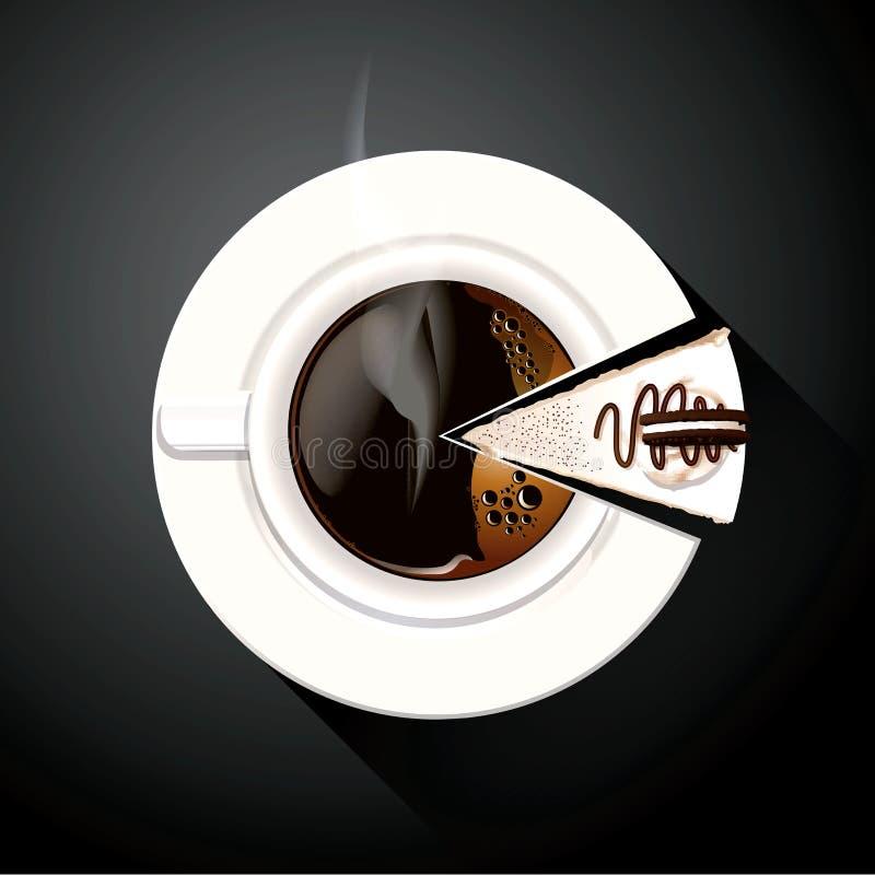 咖啡杯和蛋糕切片圆形统计图表传染媒介  库存例证
