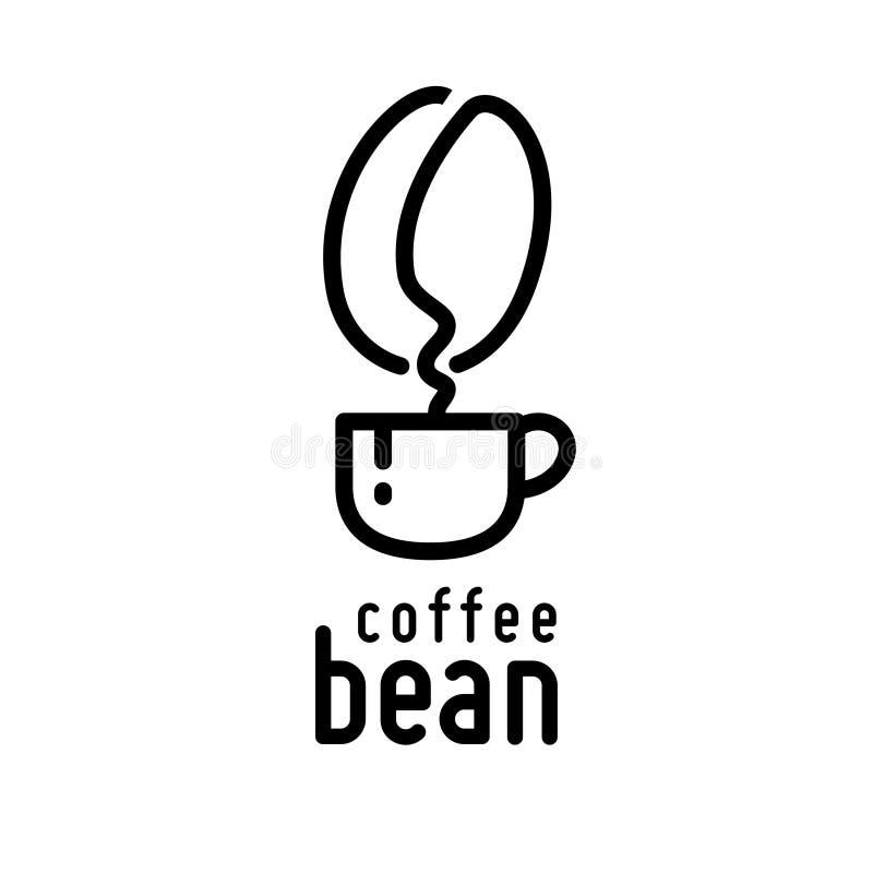 咖啡杯和豆形状烟线艺术例证 向量例证