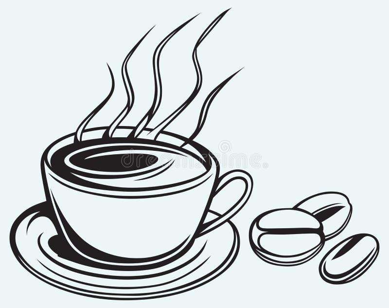 咖啡杯和豆 向量例证