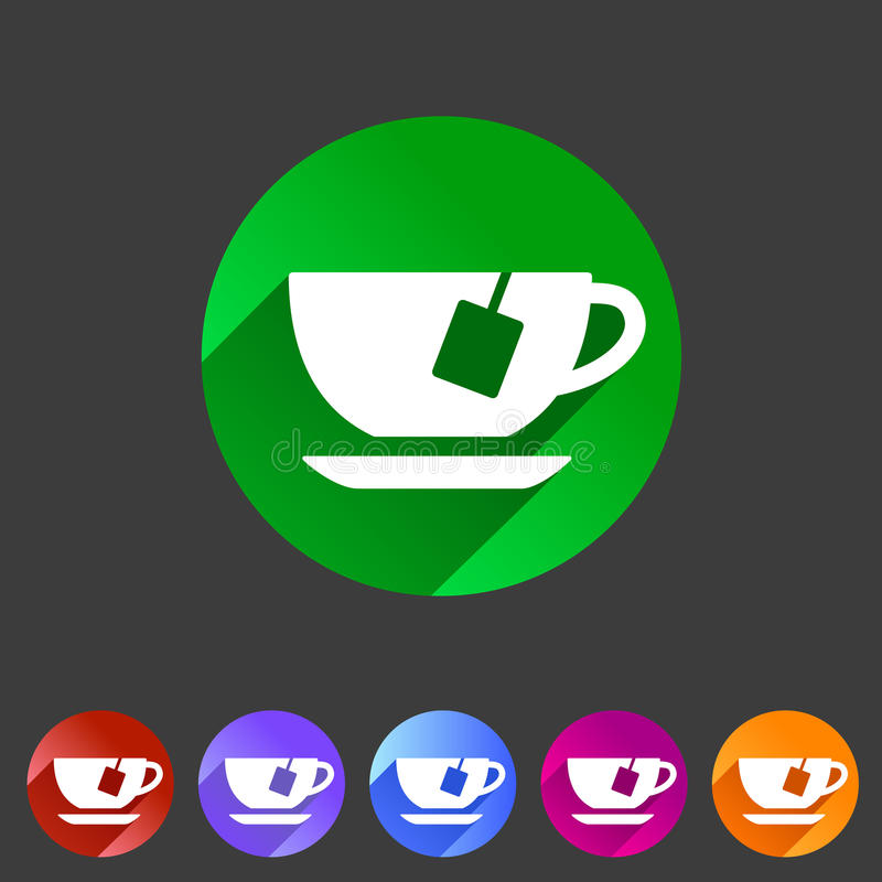 咖啡杯咖啡豆象平的网标志标志商标标号组 向量例证