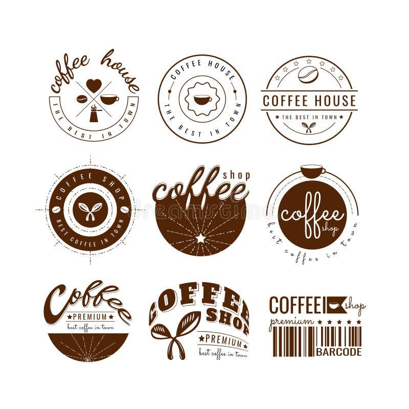 咖啡杯商标模板传染媒介 在空白背景 象设计 皇族释放例证