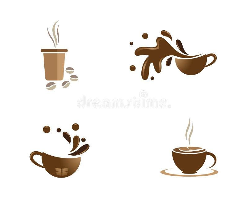 咖啡杯商标模板 向量例证