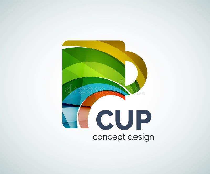 咖啡杯商标模板 库存例证