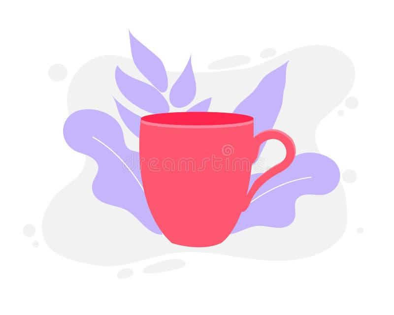 咖啡杯在背景隔绝的传染媒介例证 库存例证
