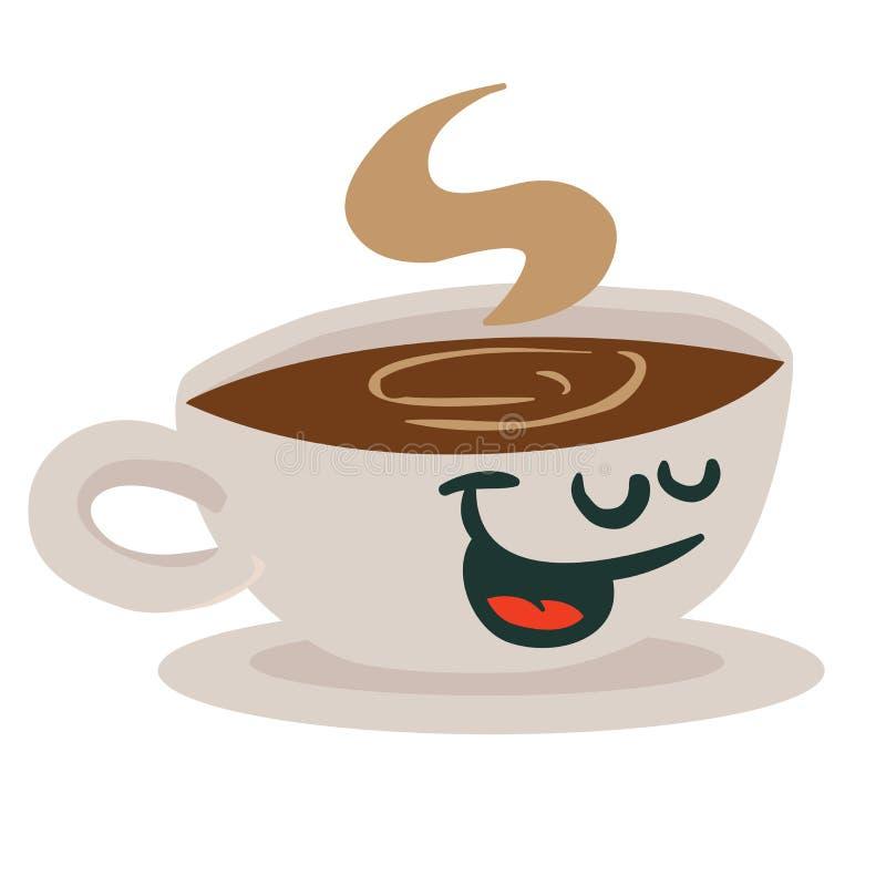 咖啡杯微笑 库存例证