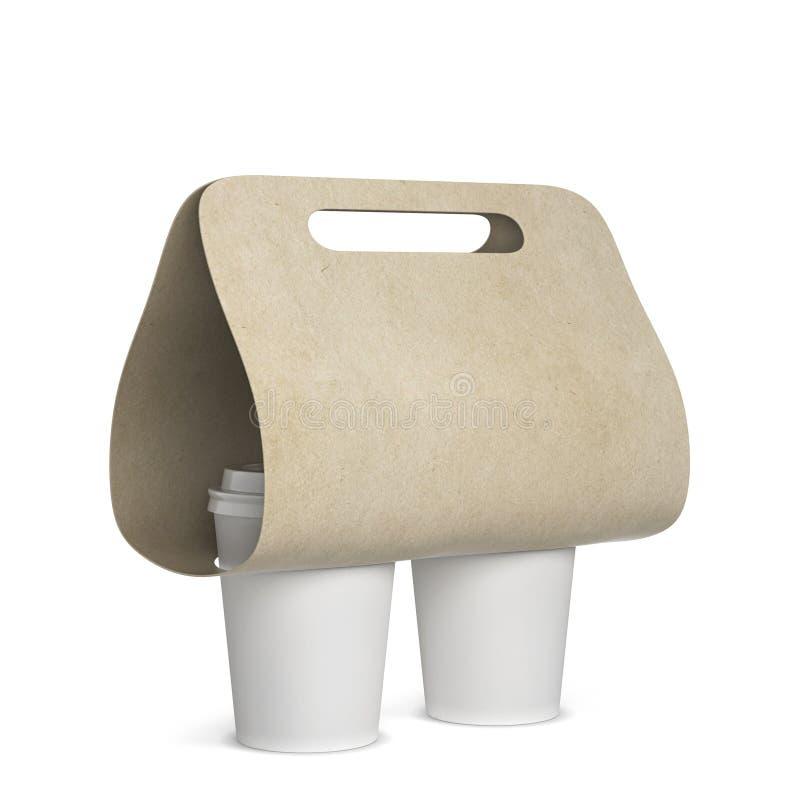 咖啡杯持有人大模型 皇族释放例证