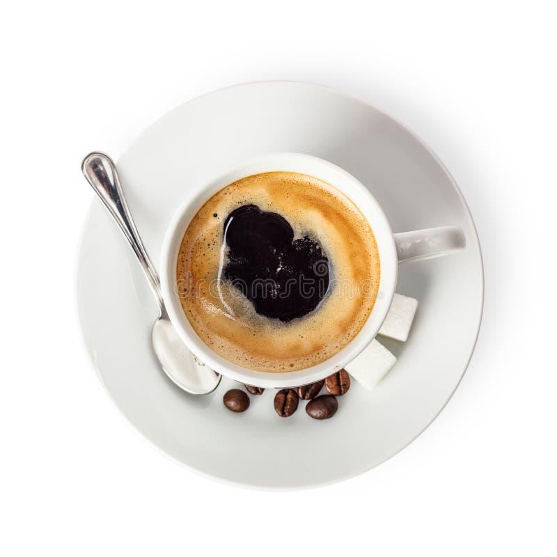 咖啡杯查出在顶视图白色 免版税库存图片