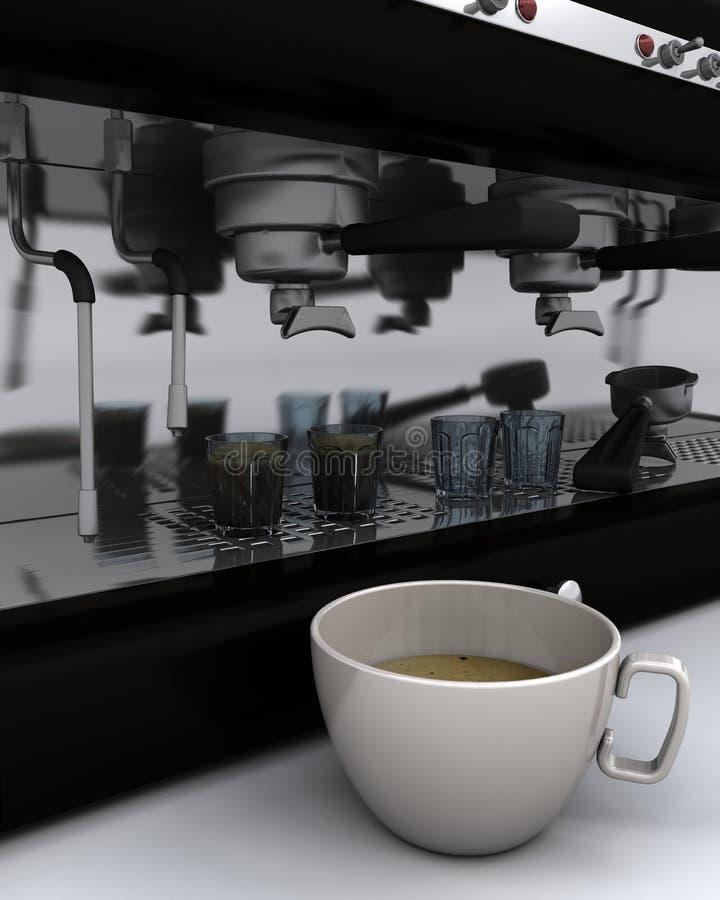 咖啡杯煮浓咖啡器 库存例证