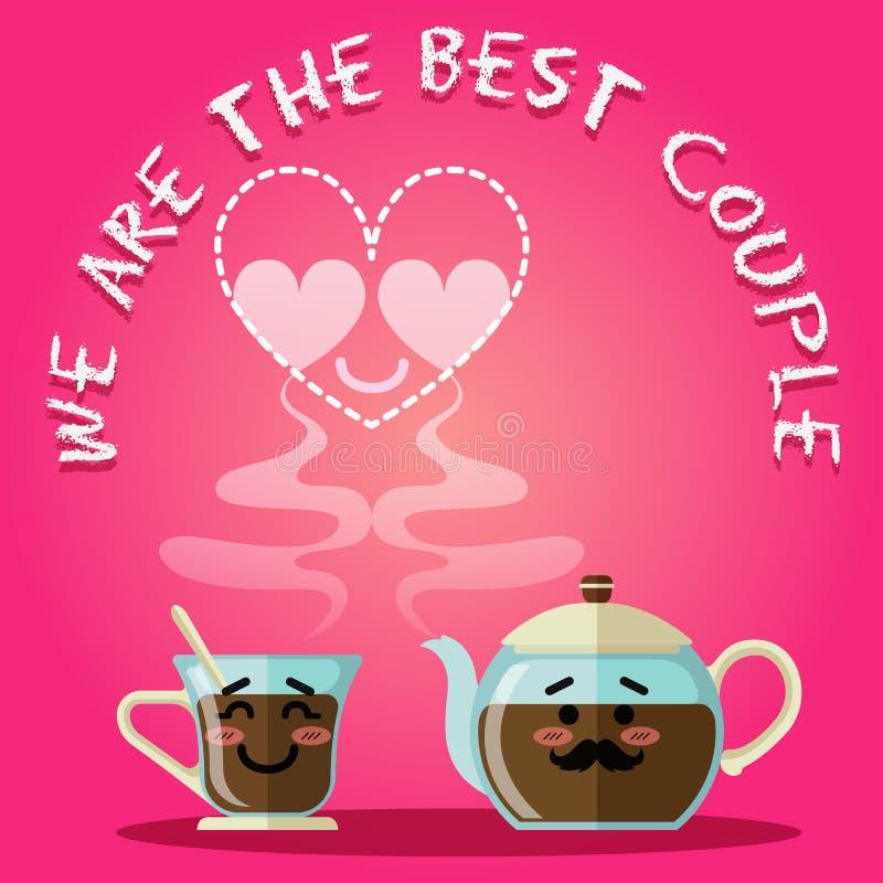 咖啡杯爱恋的夫妇和水壶或者茶壶 皇族释放例证