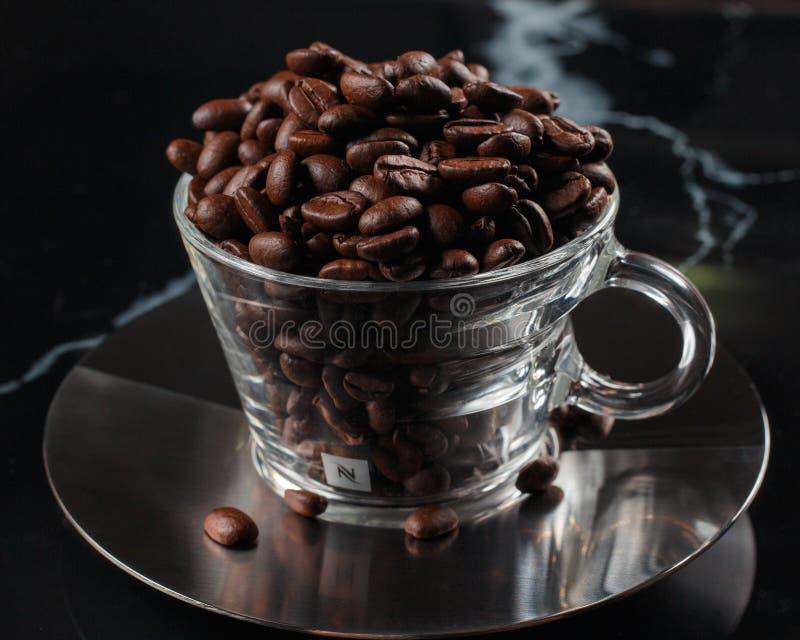 咖啡杯用咖啡豆填满 免版税库存照片
