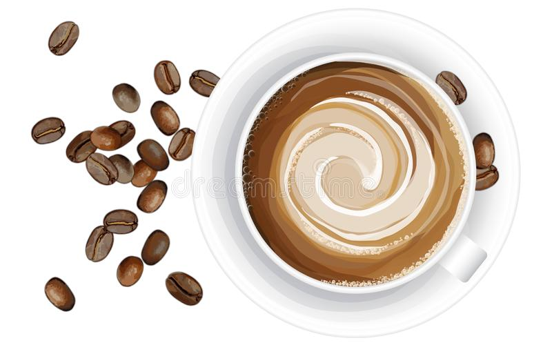 咖啡杯的现实传染媒介例证在白色背景的 皇族释放例证