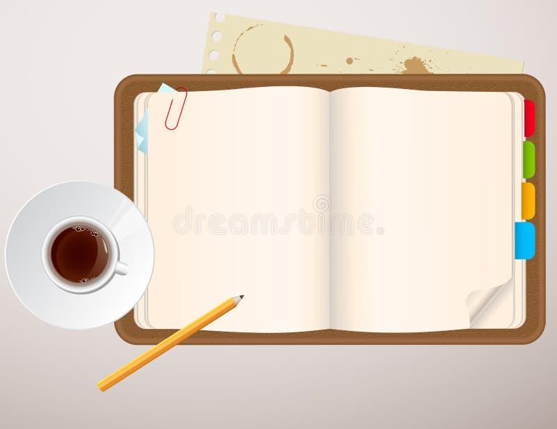 咖啡杯笔记本 皇族释放例证