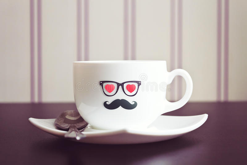 咖啡杯行家概念背景 免版税图库摄影