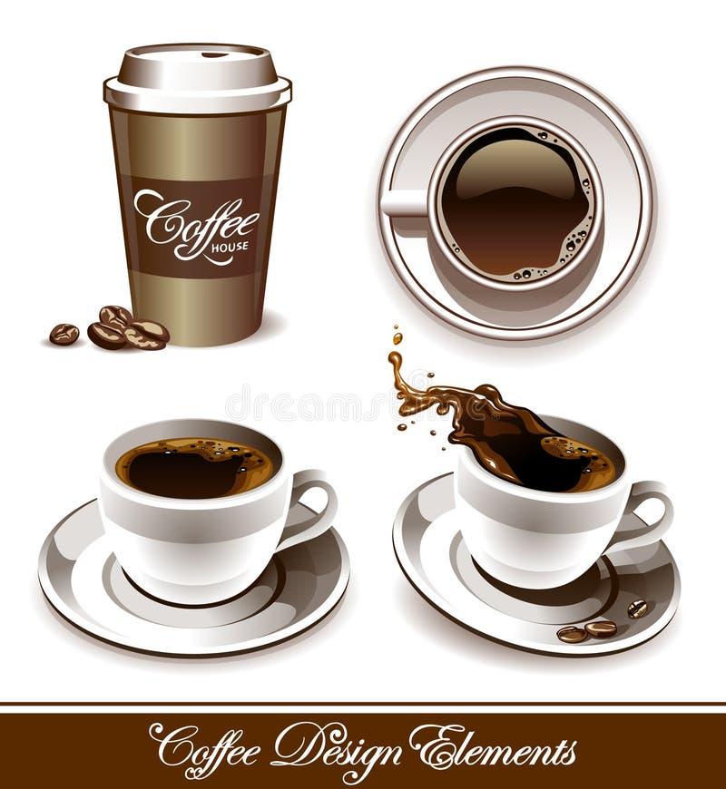 咖啡杯被设置的向量 皇族释放例证