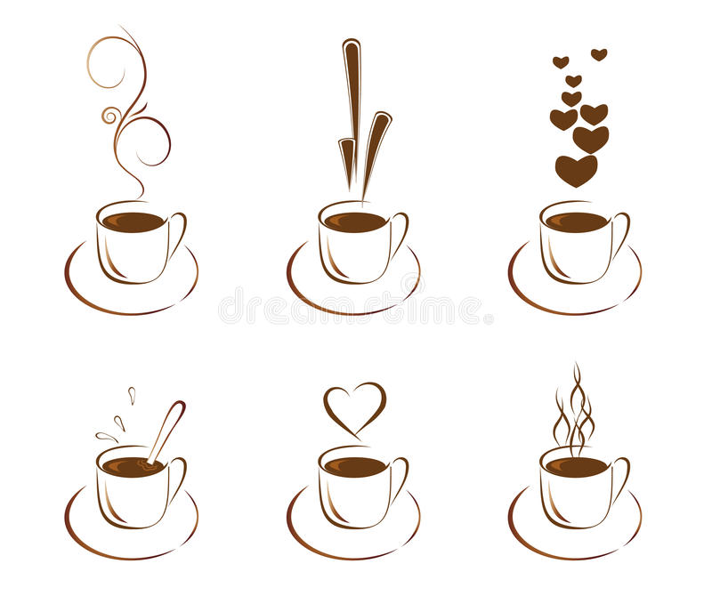 咖啡杯设置了 皇族释放例证