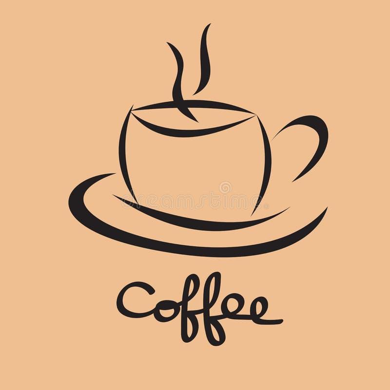 咖啡杯象,咖啡馆商标设计模板,餐馆和咖啡馆热的饮料标志,绿茶杯子传染媒介 库存例证