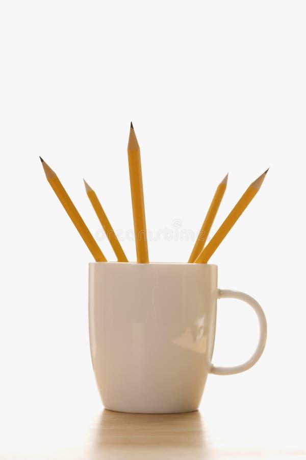 咖啡杯铅笔 免版税库存图片
