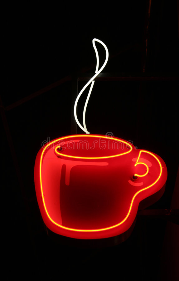 咖啡杯霓虹灯广告 免版税库存图片
