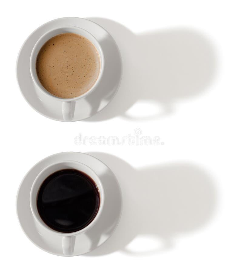 咖啡杯顶视图集,在白色上隔开,包括剪切路径 免版税库存图片
