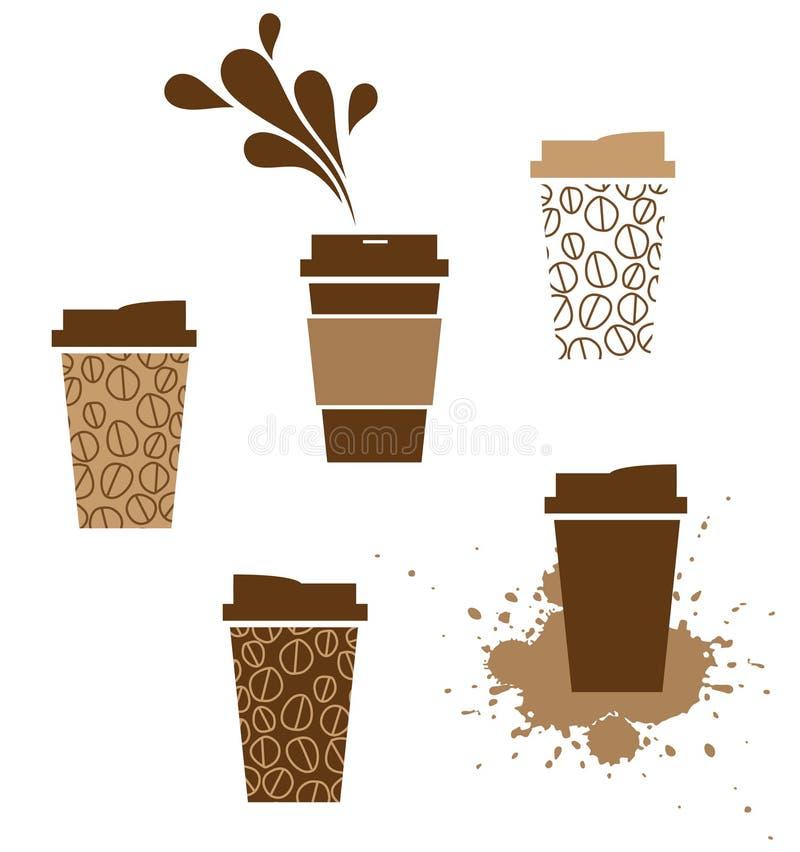 咖啡杯饭菜外卖点 向量例证