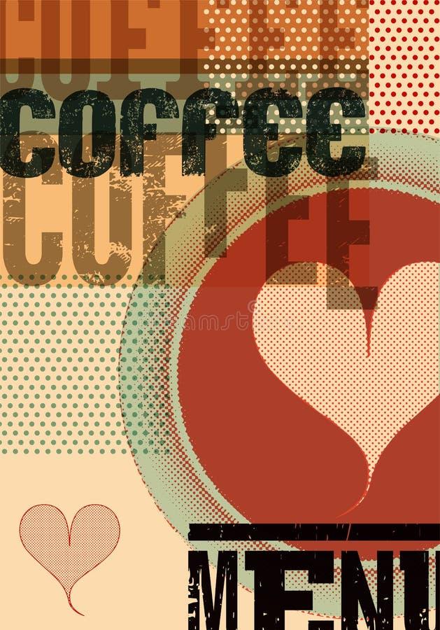 咖啡查出的菜单白色 餐馆、咖啡馆或者咖啡馆的印刷减速火箭的海报 也corel凹道例证向量 皇族释放例证