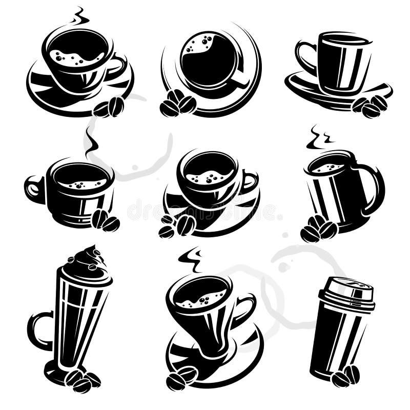 咖啡查出集合白色 向量 皇族释放例证