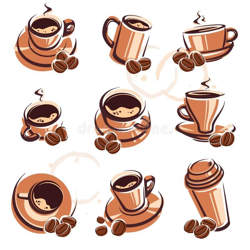 咖啡查出集合白色 向量 库存例证