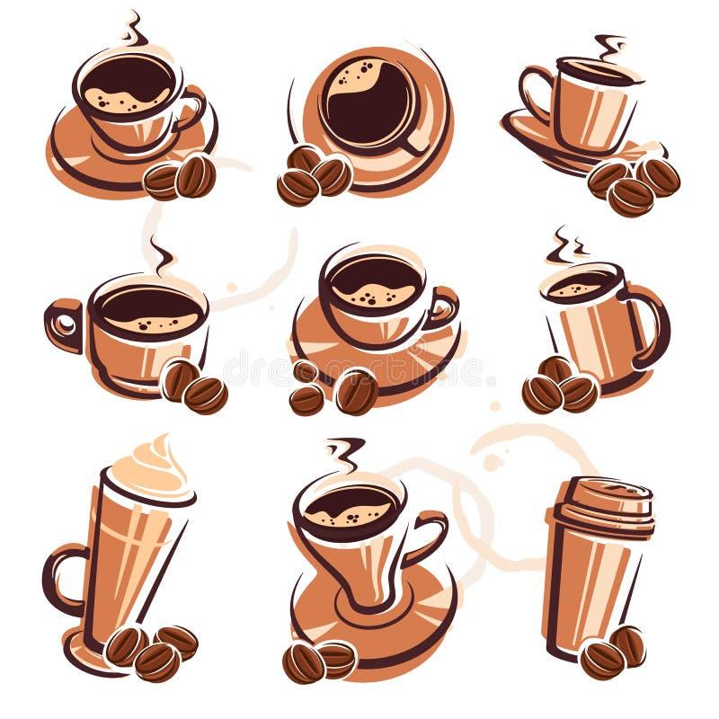 咖啡查出集合白色 向量 向量例证
