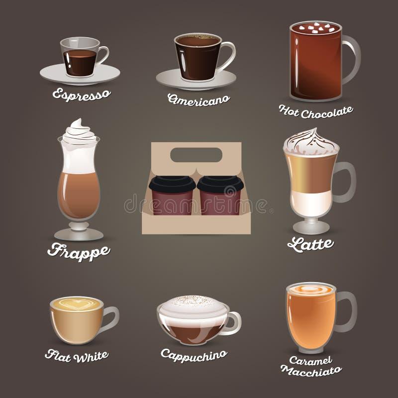 咖啡查出集合白色 咖啡馆菜单 库存例证