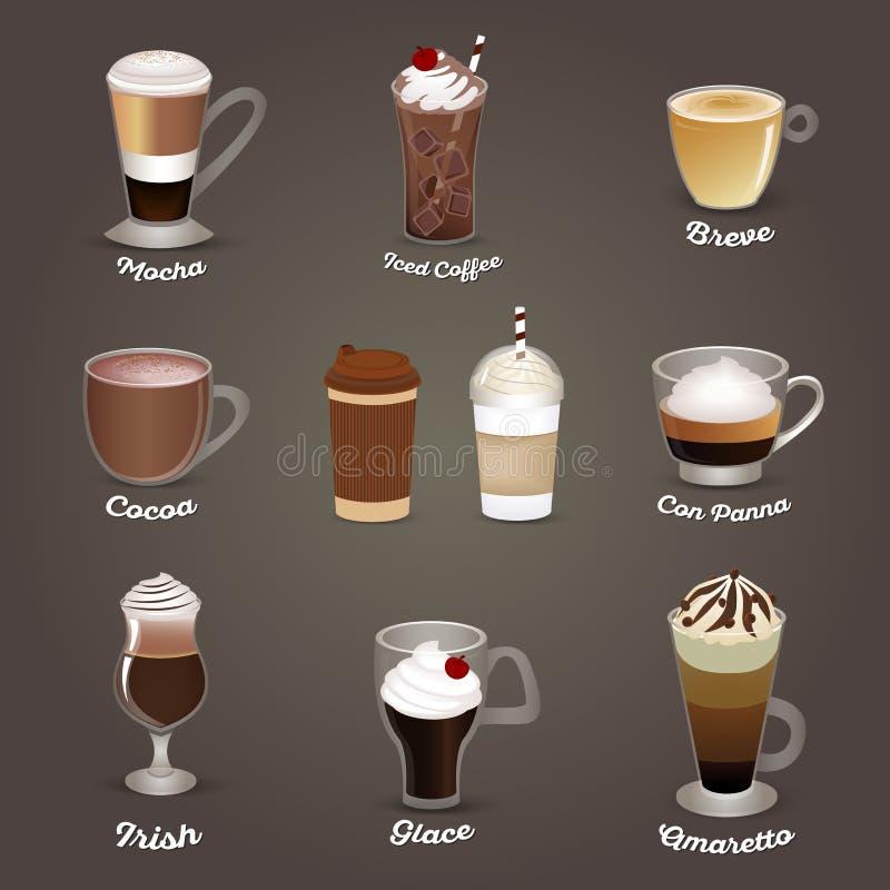 咖啡查出集合白色 咖啡馆菜单 向量例证