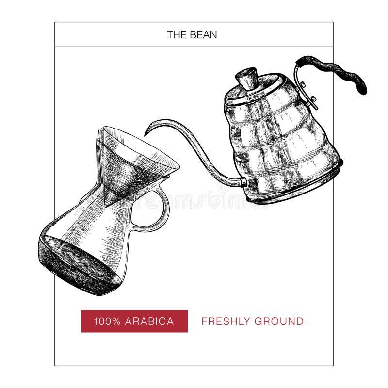 咖啡查出集合白色 手拉倾吐和coffe水壶 供选择的酿造方法 传染媒介被刻记的象 成套设计  皇族释放例证