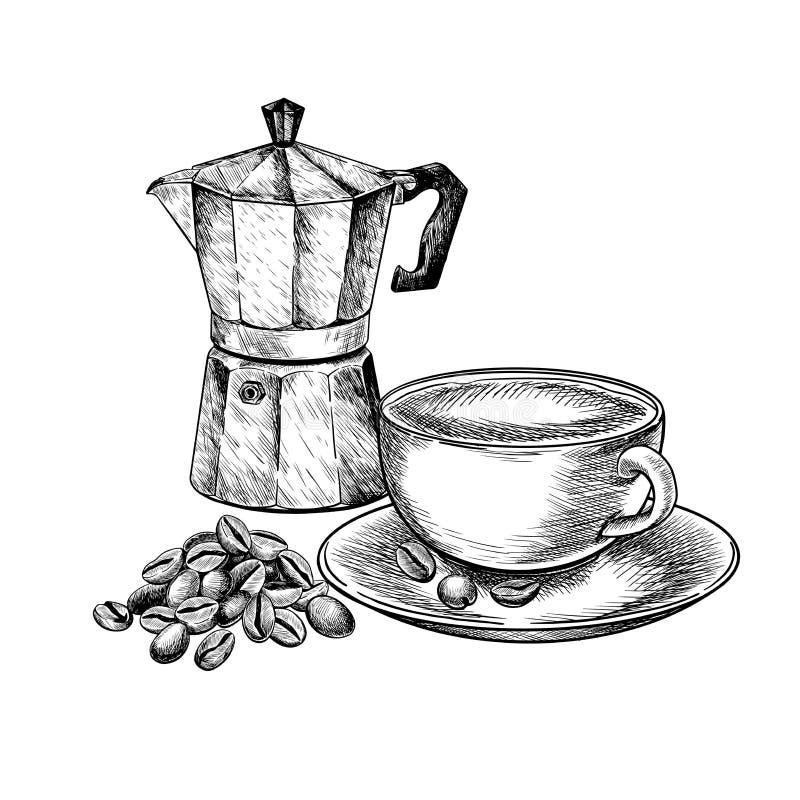 咖啡查出集合白色 手拉的咖啡杯与五谷堆的热奶咖啡或晚和减速火箭的喷泉moca 传染媒介被刻记的象 库存例证