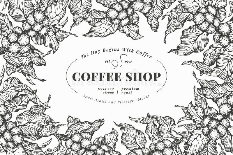咖啡树横幅模板 也corel凹道例证向量 葡萄酒咖啡框架图片