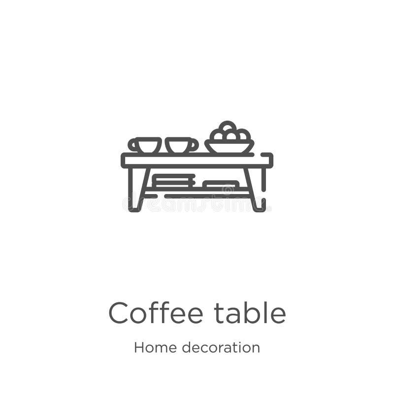 咖啡桌从家庭装饰收藏的象传染媒介 稀薄的线咖啡桌概述象传染媒介例证 r 皇族释放例证