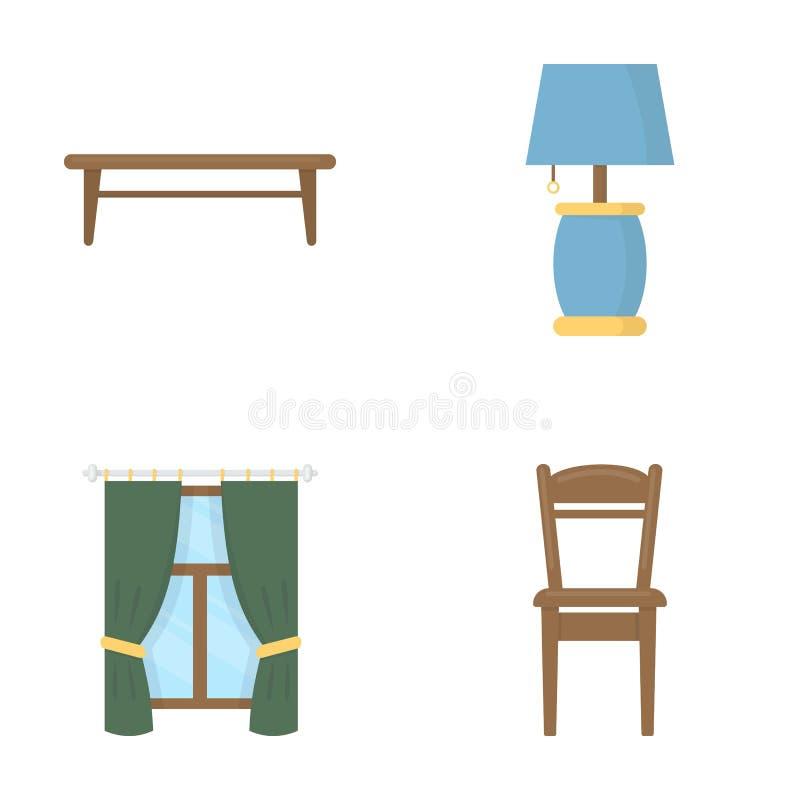咖啡桌,灯,帷幕,椅子 在动画片样式的家具集合汇集象导航标志股票 皇族释放例证