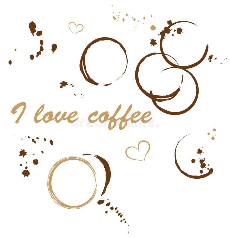 咖啡污点,爱 向量例证