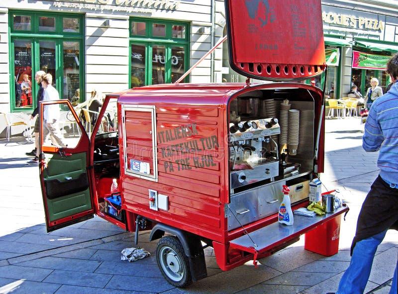 咖啡汽车在奥尔胡斯在丹麦 库存照片