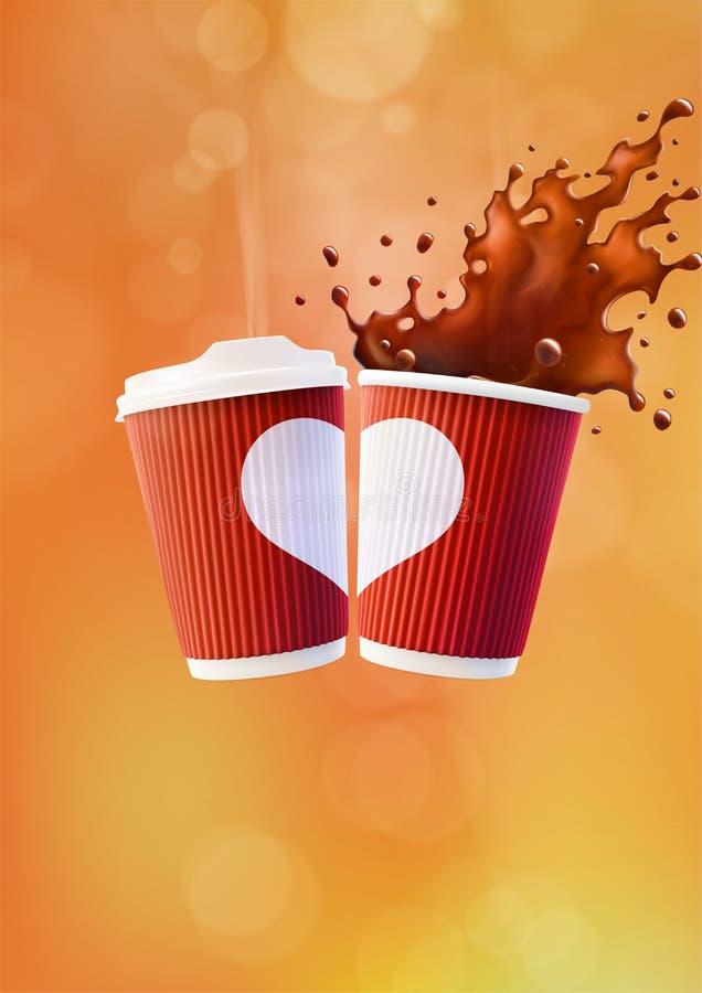 咖啡爱海报模板 有白色心脏和飞溅的两红色波纹杯在橙色背景 皇族释放例证