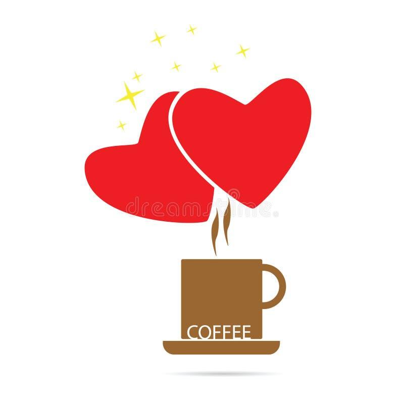 咖啡爱艺术颜色 库存例证