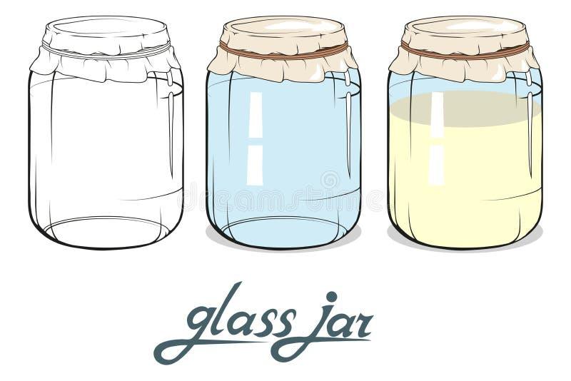 咖啡玉米玻璃瓶子溢出的表 手拉的瓶子 玻璃瓶子字法  库存例证