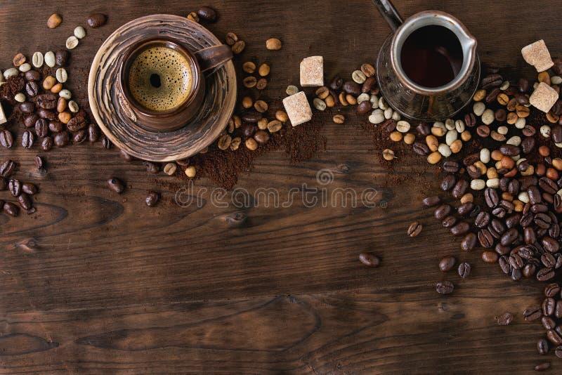 咖啡的分类作为背景的 免版税库存照片