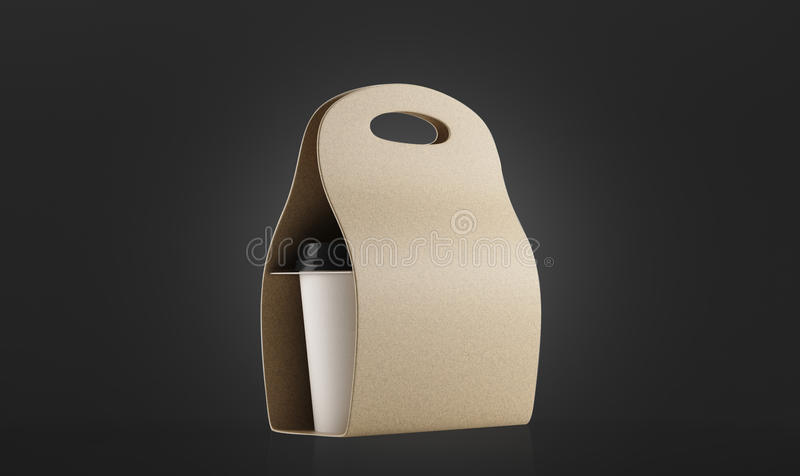 咖啡的米黄容器能去反对黑背景 皇族释放例证
