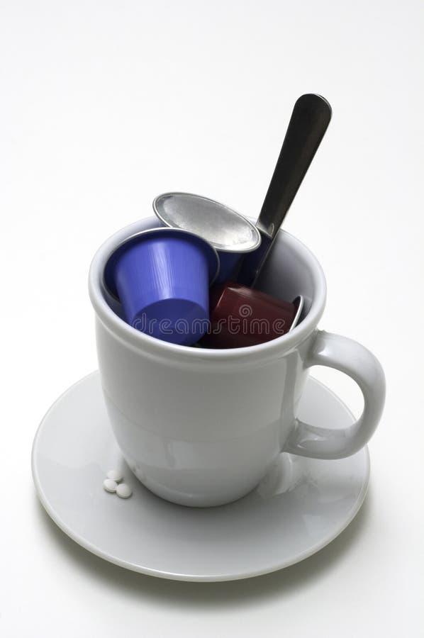 咖啡盛奶油小壶杯子 库存照片