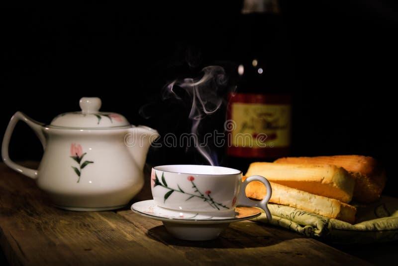 咖啡碗筷 库存图片