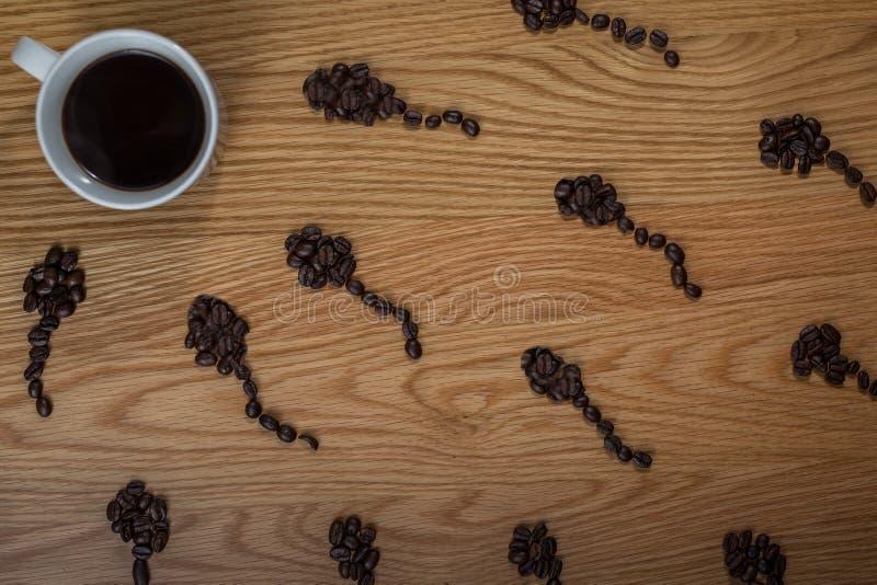 咖啡精液概念 库存照片