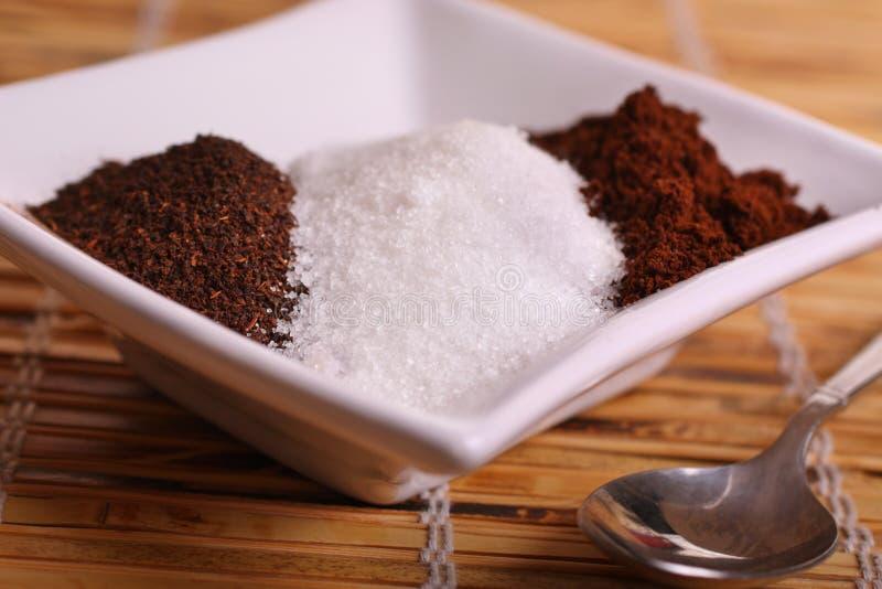 咖啡糖茶 免版税库存照片