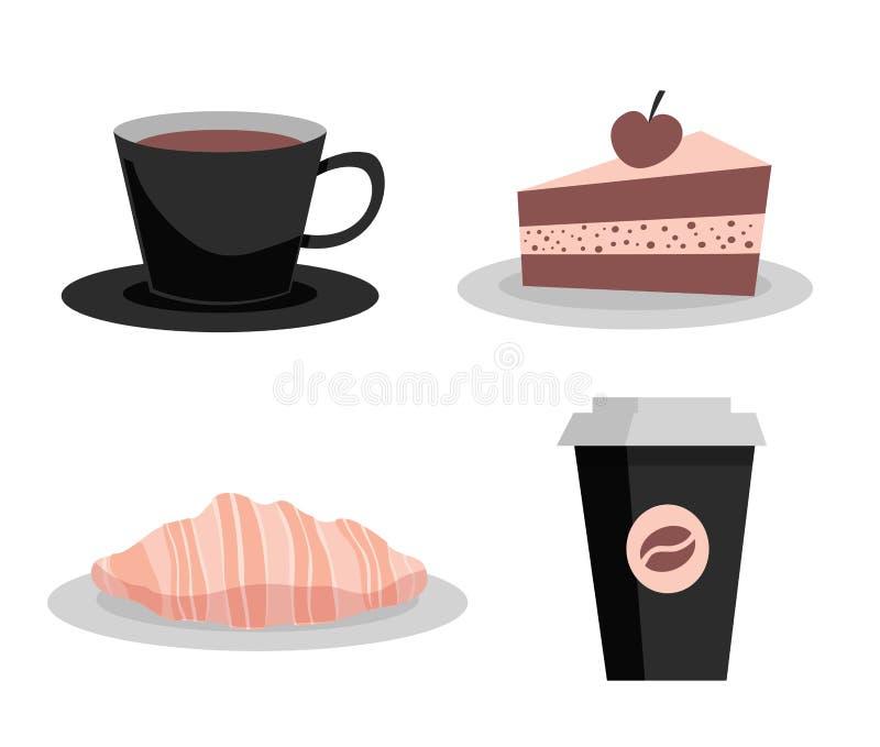 E 咖啡纸杯、茶杯和板材,巧克力蛋糕,新月形面包 向量例证