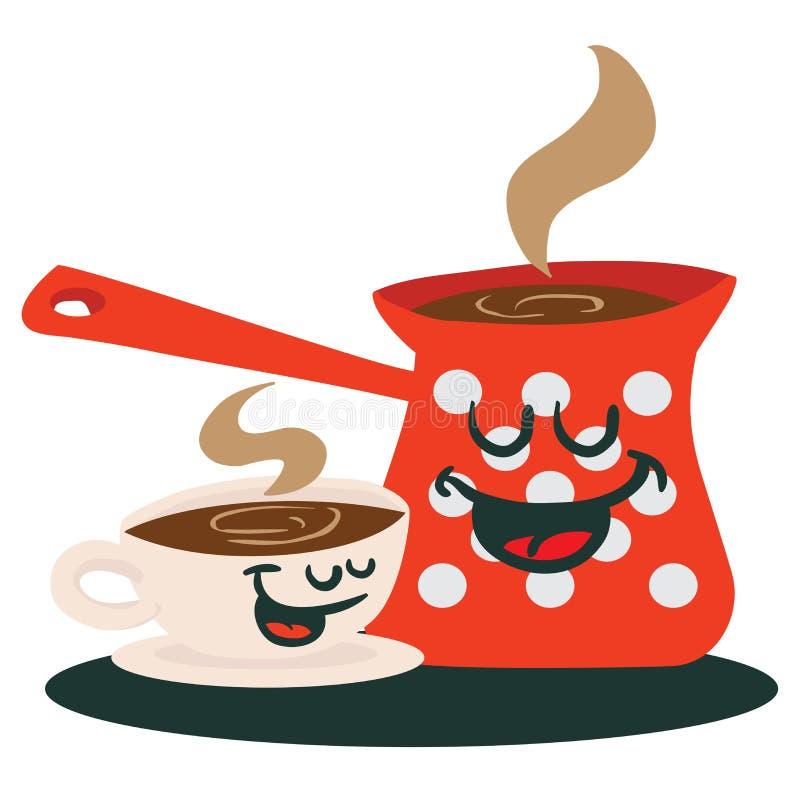 咖啡罐和杯子谈话 向量例证