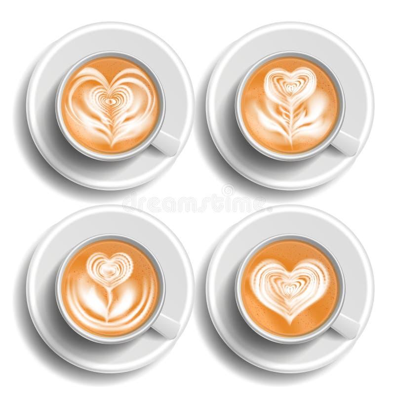咖啡艺术杯集合传染媒介 心脏 顶视图 热的cappuchino咖啡 快餐杯饮料 杯子白色 被隔绝的现实 库存例证