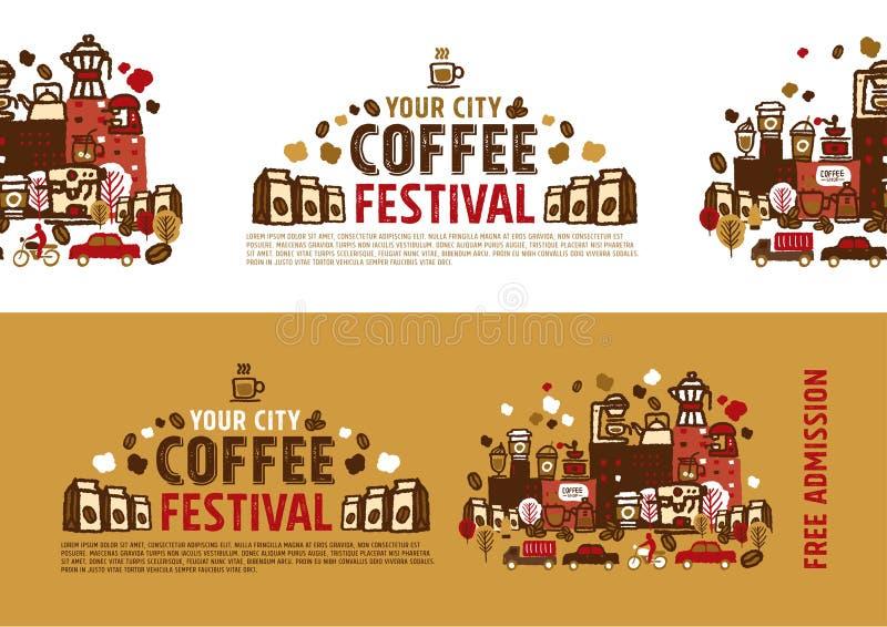 咖啡节日海报概念 库存例证